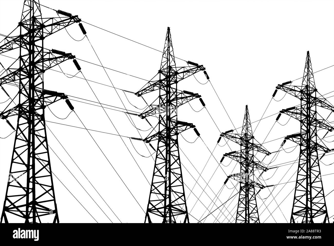 Electricity transmission lines with wires and towers. Black and white line art drawing illustration. Concept of electric power supply, alternative ene Stock Photo