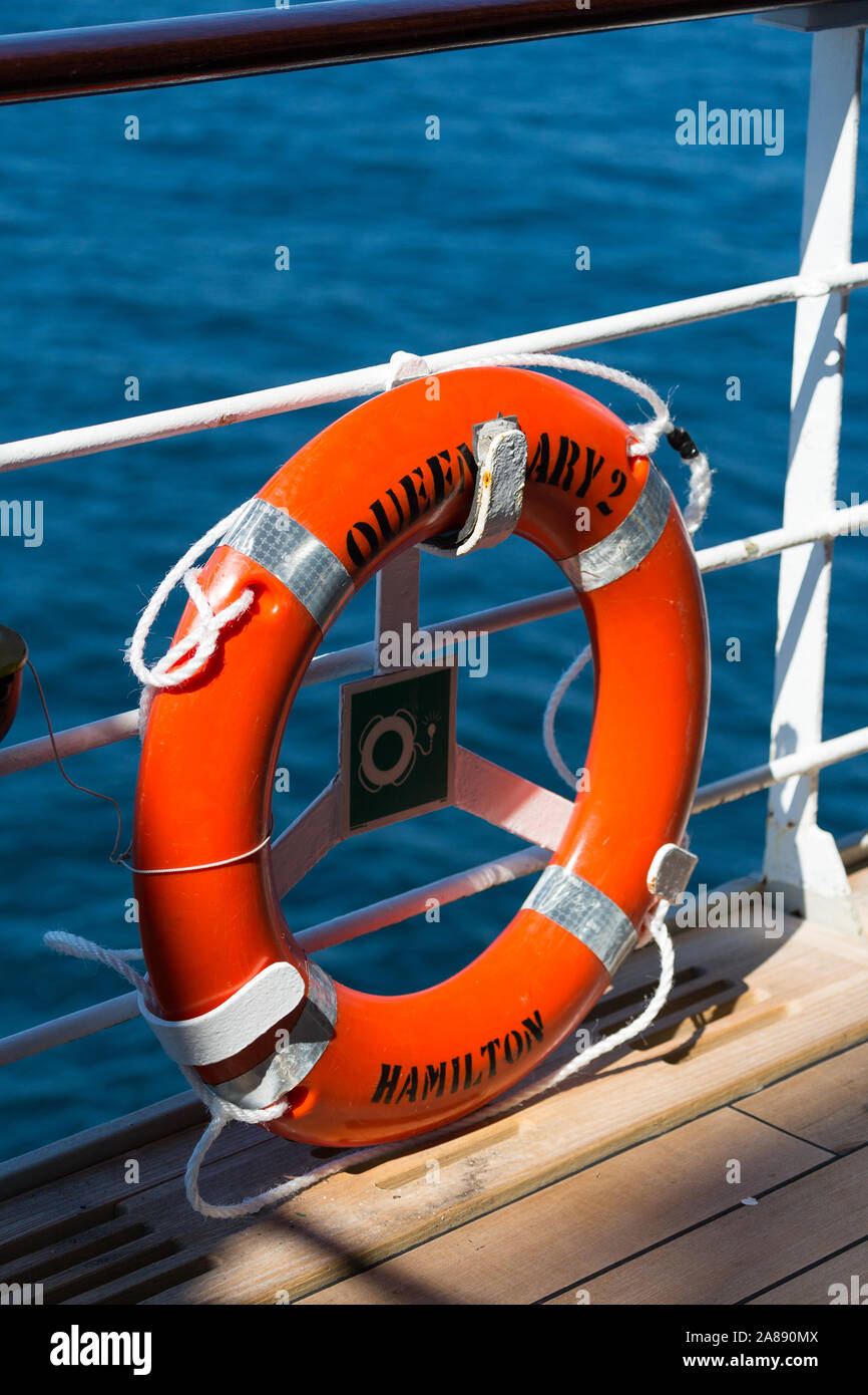 Lifebelt on RMS Queen Mary 2. Cunard Liner Stock Photo