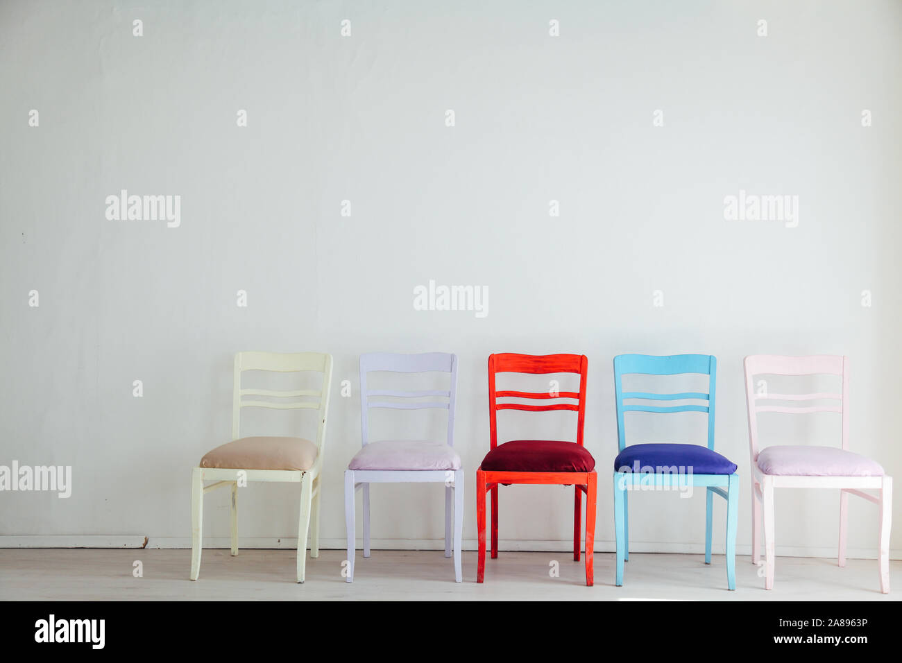 Fabulous White Room With Colorful Chairs Blue Yellow Red Blue Purple Pabps2019 Chair Design Images Pabps2019Com