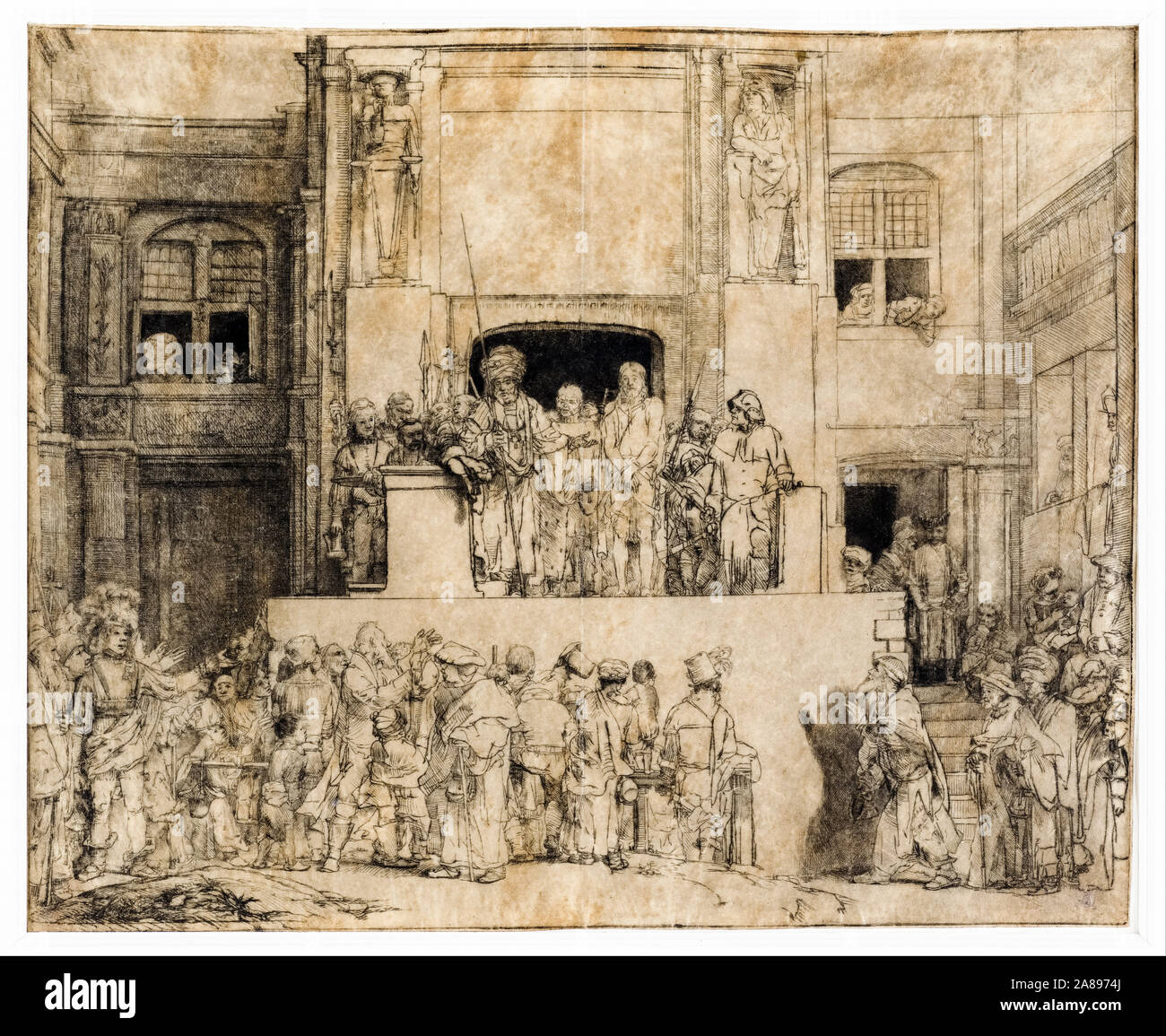 Rembrandt van Rijn, Christ presented to the people, (the oblong plate), etching, 1655 Stock Photo