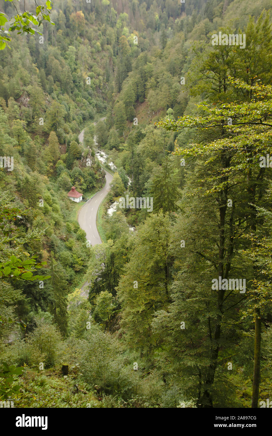 View into Wehraschlucht, Bannwald,  autumn, Black Forest, Germany Stock Photo