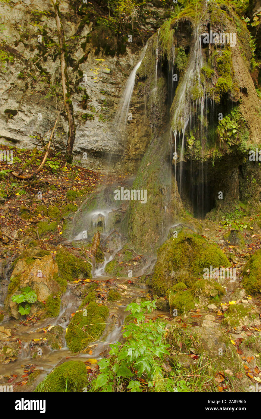 Waterfall with travertine, Wutachschlucht (Wutach canyon),  autumn, Black Forest, Germany Stock Photo