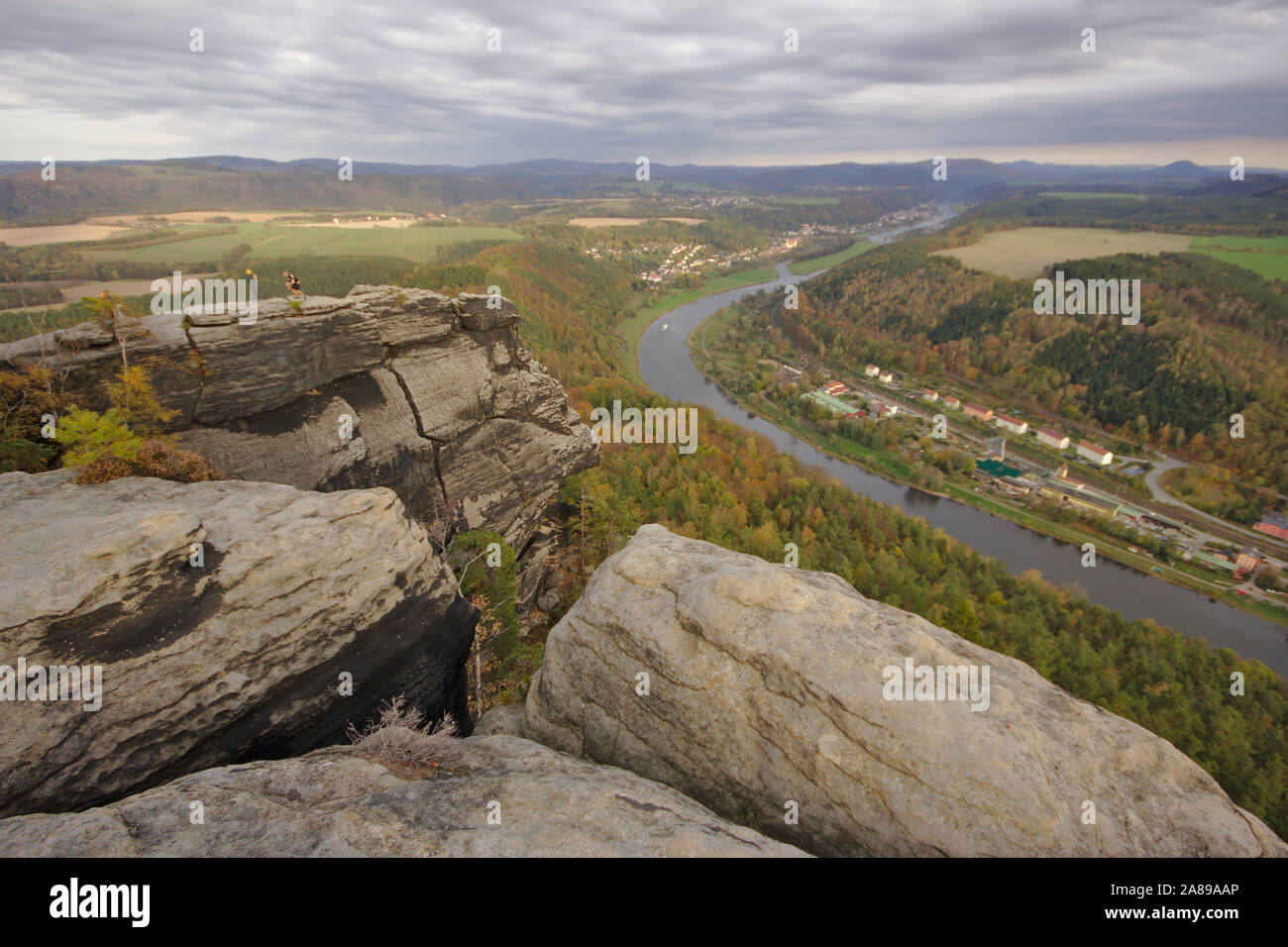 View from Lilienstein towards Bad Schandau Stock Photo