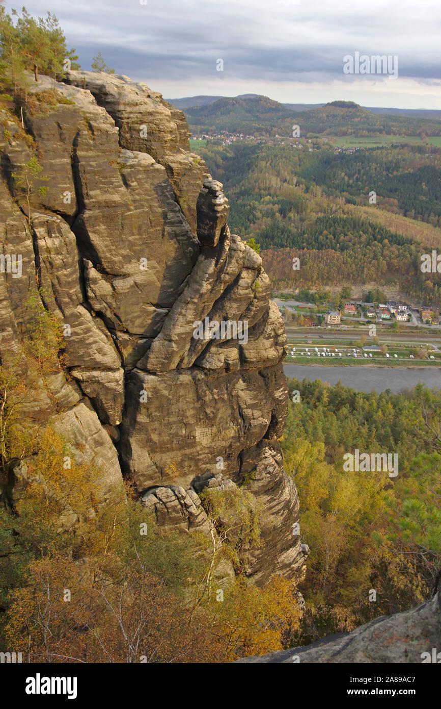 Sandstone rocks on Lilienstein, autumn, Sächsische Schweiz, Germany Stock Photo