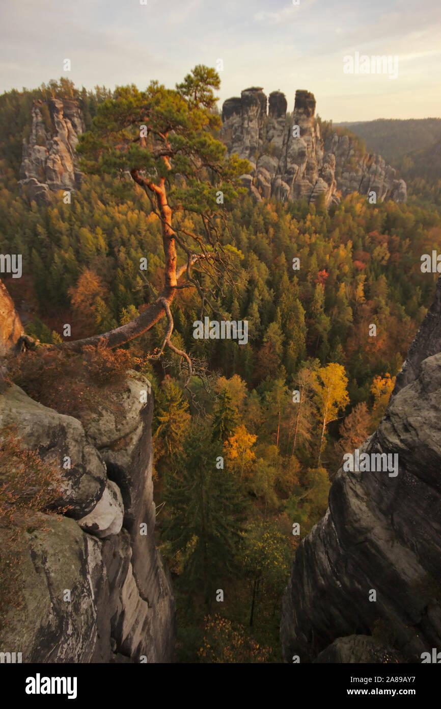 Bastei, Felsenburg Neurathen, autumn, Sächsische Schweiz, Germany Stock Photo