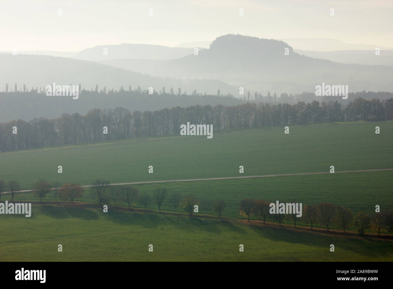 View from Rauenstein to Pfaffenstein, autumn, Sächsische Schweiz, Germany Stock Photo