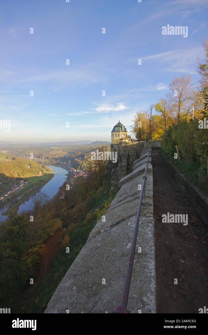 Festung Königsstein, Friedrichsburg pavillion and Elbe,  autumn, Sächsische Schweiz, Germany Stock Photo