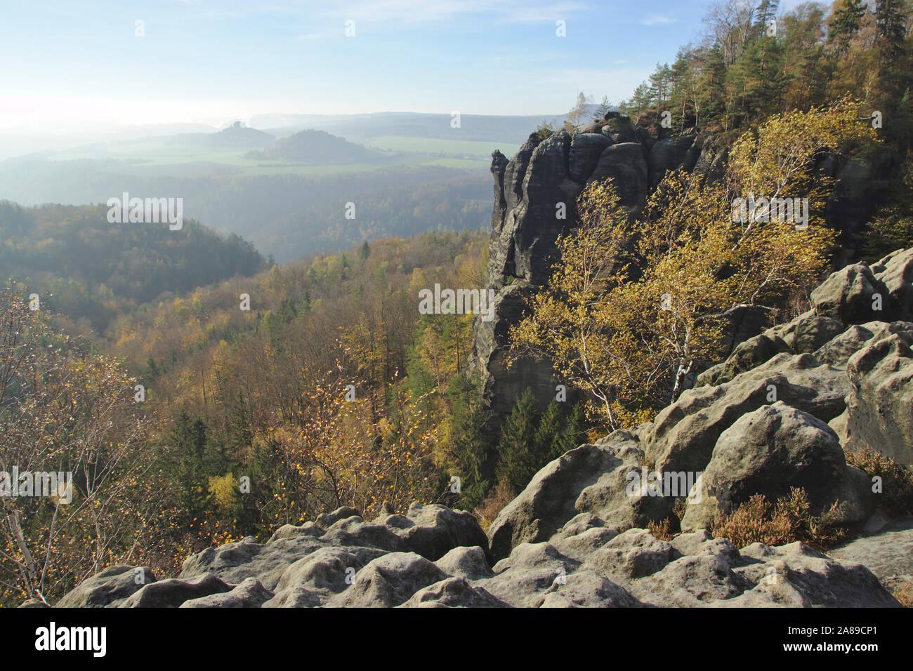 Viewpoint Breite Kluft, autumn, Sächsische Schweiz, Germany Stock Photo