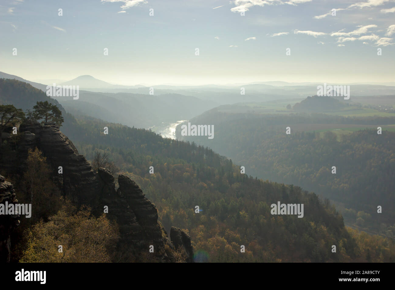 View from Schrammsteinaussicht towards Elbe and Bohemia , autumn, Sächsische Schweiz, Germany Stock Photo