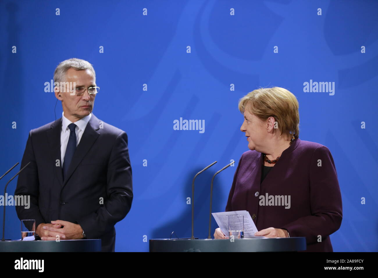 11/07/2019, Berlin, Germany, Chancellor Angela Merkel and Jens Stoltenberg in the Chancellery. German Chancellor Angela Merkel receives NATO Secretary General Jens Stoltenberg on 7 November for a working visit to the Federal Chancellery. In addition to exchanging views on current issues, the exchange of views will include, in particular, the forthcoming NATO Heads of Government meeting in London on 3 and 4 December 2019, which celebrates the 70th anniversary of the Alliance. Stock Photo