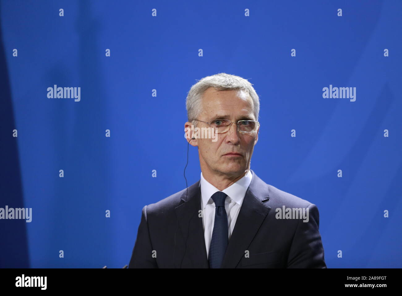 11/07/2019, Berlin, Germany, Jens Stoltenberg in the Chancellery. German Chancellor Angela Merkel receives NATO Secretary General Jens Stoltenberg on 7 November for a working visit to the Federal Chancellery. In addition to exchanging views on current issues, the exchange of views will include, in particular, the forthcoming NATO Heads of Government meeting in London on 3 and 4 December 2019, which celebrates the 70th anniversary of the Alliance. Stock Photo