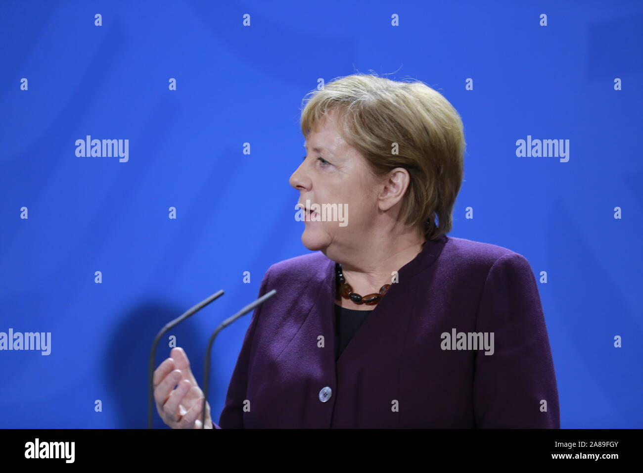 11/07/2019, Berlin, Germany, Chancellor Angela Merkel in the Chancellery. German Chancellor Angela Merkel receives NATO Secretary General Jens Stoltenberg on 7 November for a working visit to the Federal Chancellery. In addition to exchanging views on current issues, the exchange of views will include, in particular, the forthcoming NATO Heads of Government meeting in London on 3 and 4 December 2019, which celebrates the 70th anniversary of the Alliance. Stock Photo