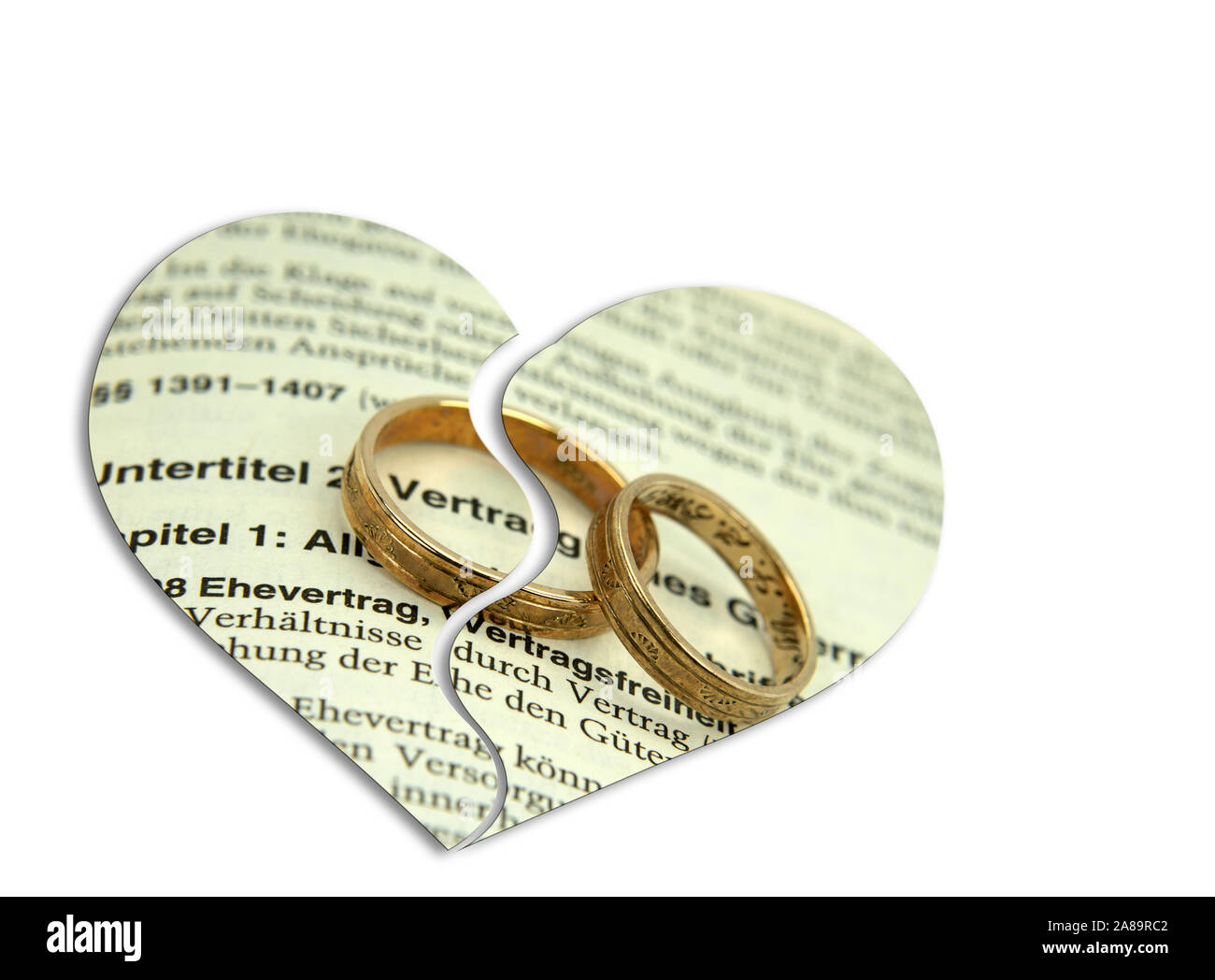 Marriage contract, divorce, symbolic representation Stock Photo