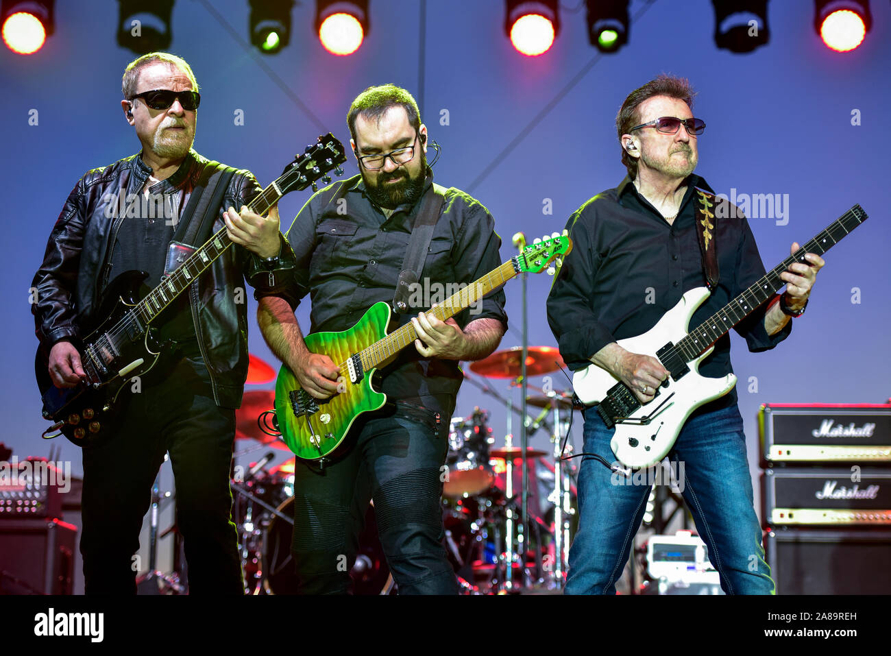 July 4, 2019, Moapa Nevada, Blue Oyster Cult on stage at the Moapa Event Center In Moapa, Nevada. Stock Photo