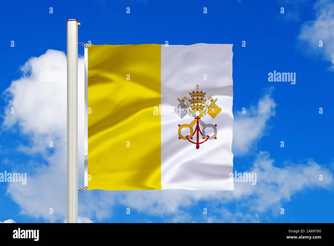 Vatikan, Vatikanstadt, Stadtstaat, Stadtstaat, Italien, Rom, Nationalfahne, Nationalflagge, Fahne, Flagge, Flaggenmast, Cumulus Wolken vor blauen Himm Stock Photo