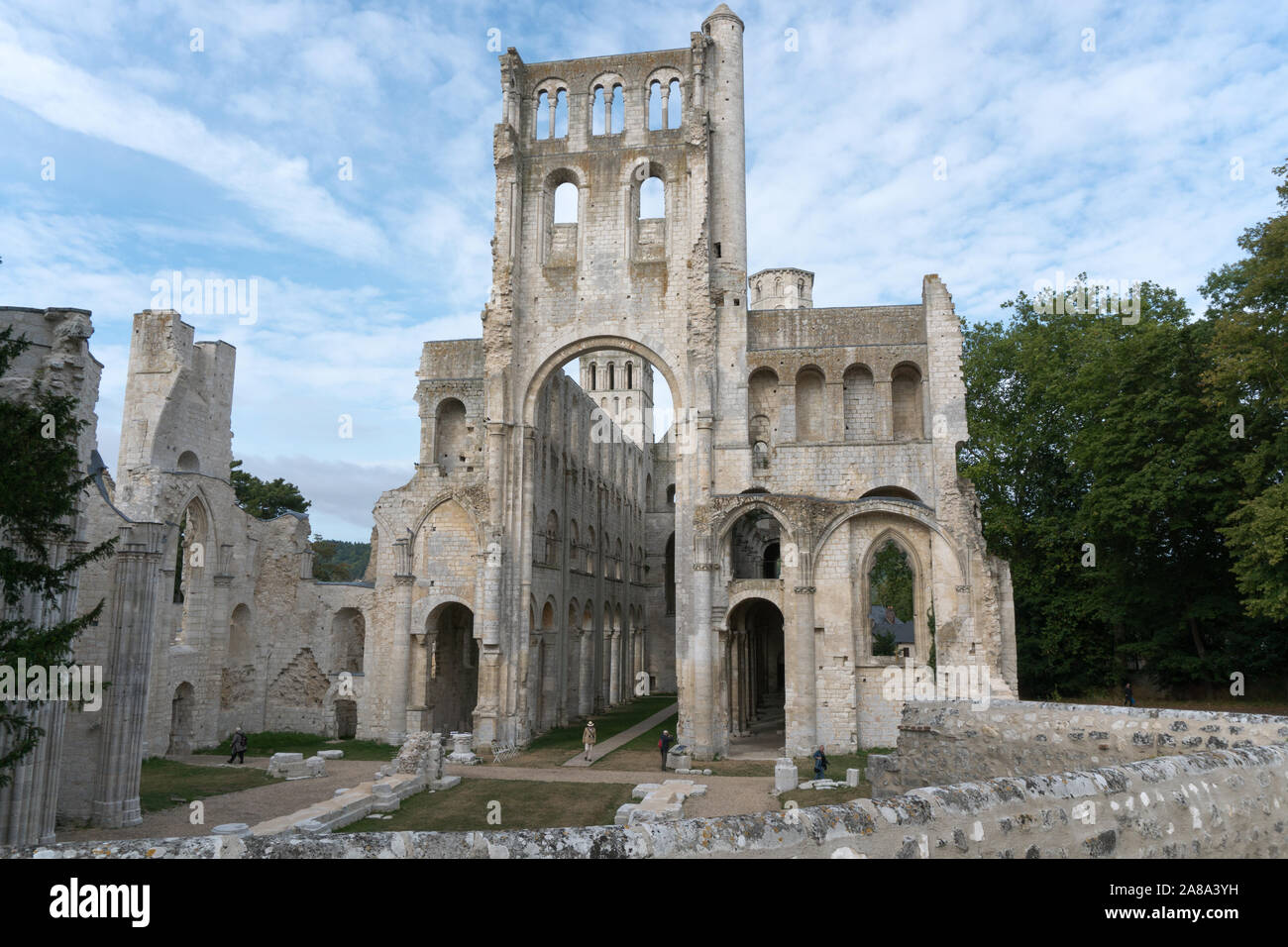 Jumieges, Normandy / France - 13 August 2019: the old abbey and Benedictine monastery at Jumieges in Normandy in France Stock Photo