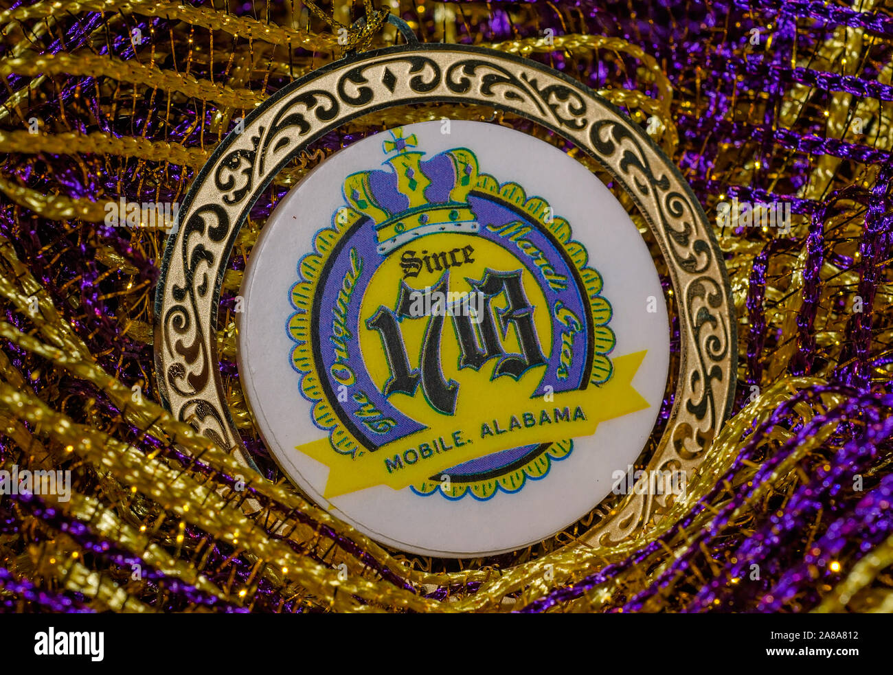 A Gold Medallion Proclaims Mobile Alabama As The Home Of The First Original Mardi Gras A Tradition Dating Back To 1703 Stock Photo Alamy