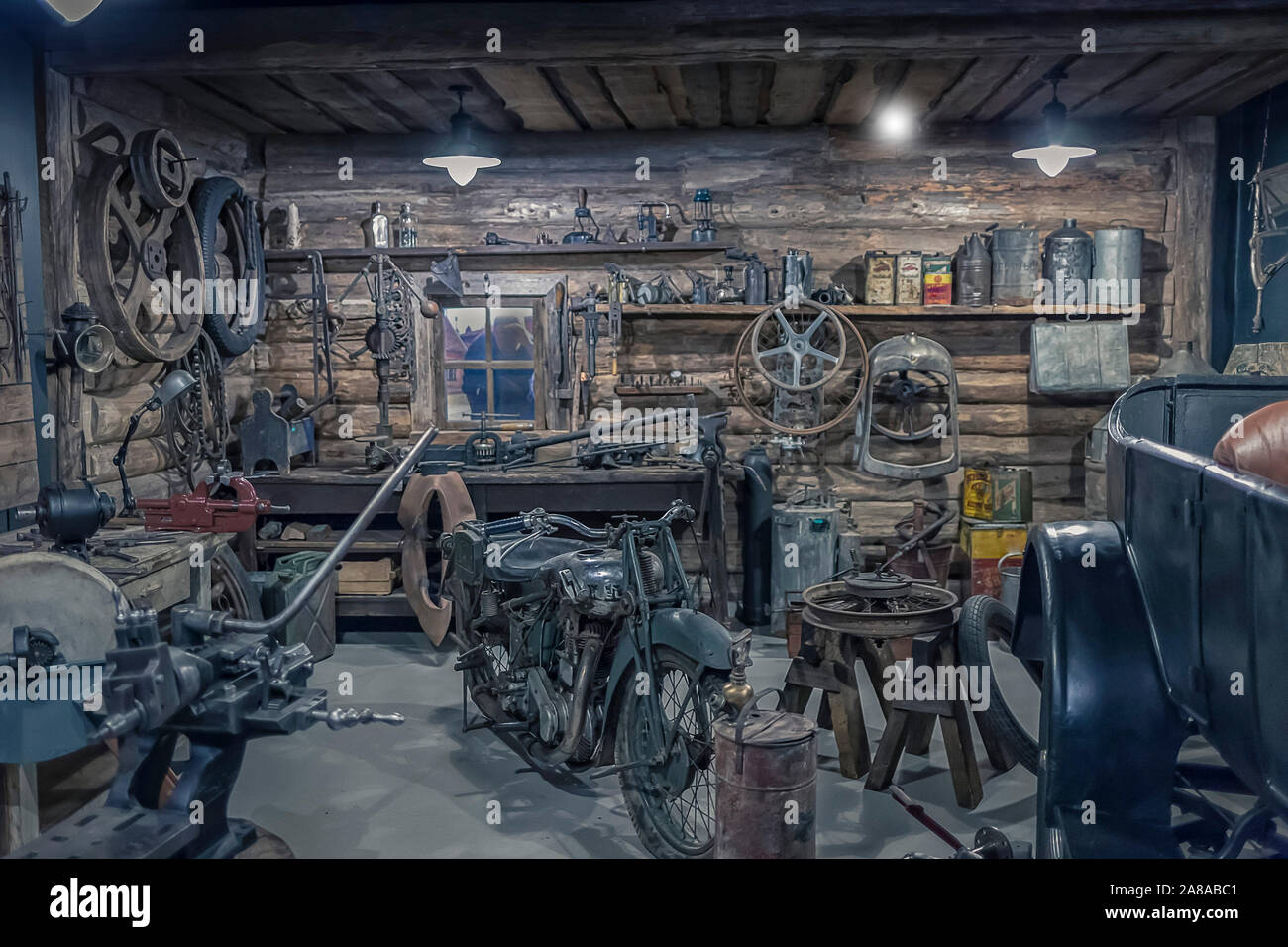 Interior Of An Old Workshop Small Garage Equipment Stock Photo Alamy
