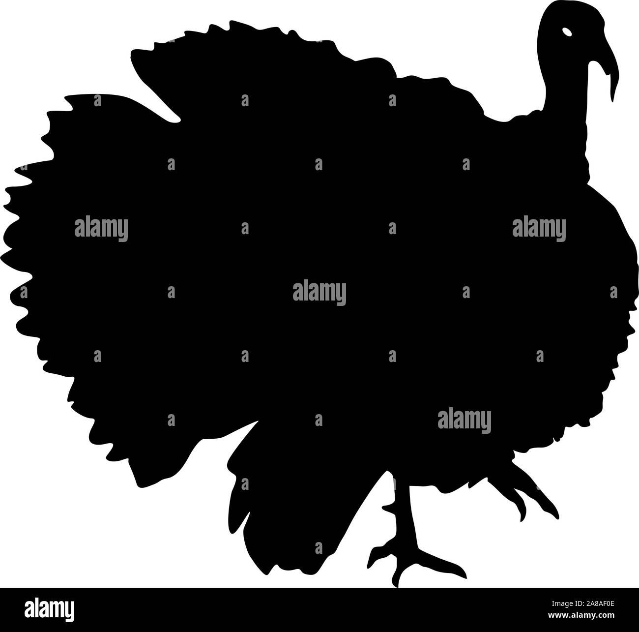 Silhouette black turkey on a white background. Stock Vector