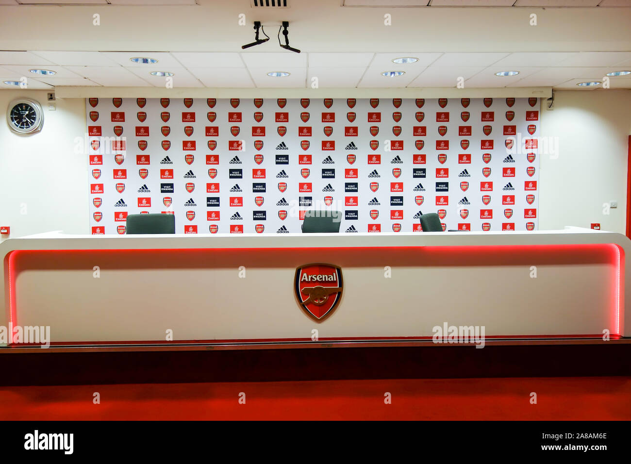 LONDON, UK - OCT 5TH 2019: The Press Room on display to the public at the Arsenal Emirates Stadium Tour. Stock Photo