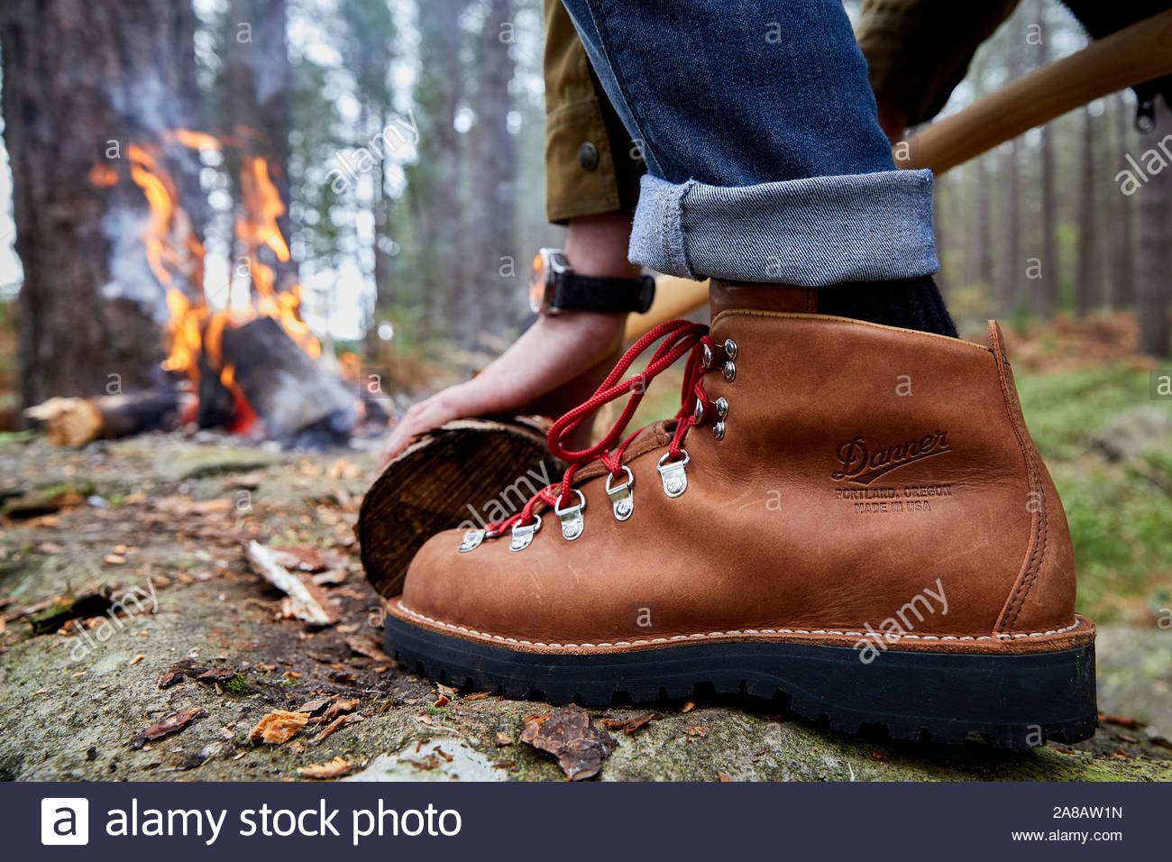 Lumberjack Ax Resting On His Shoulder Stock Photo
