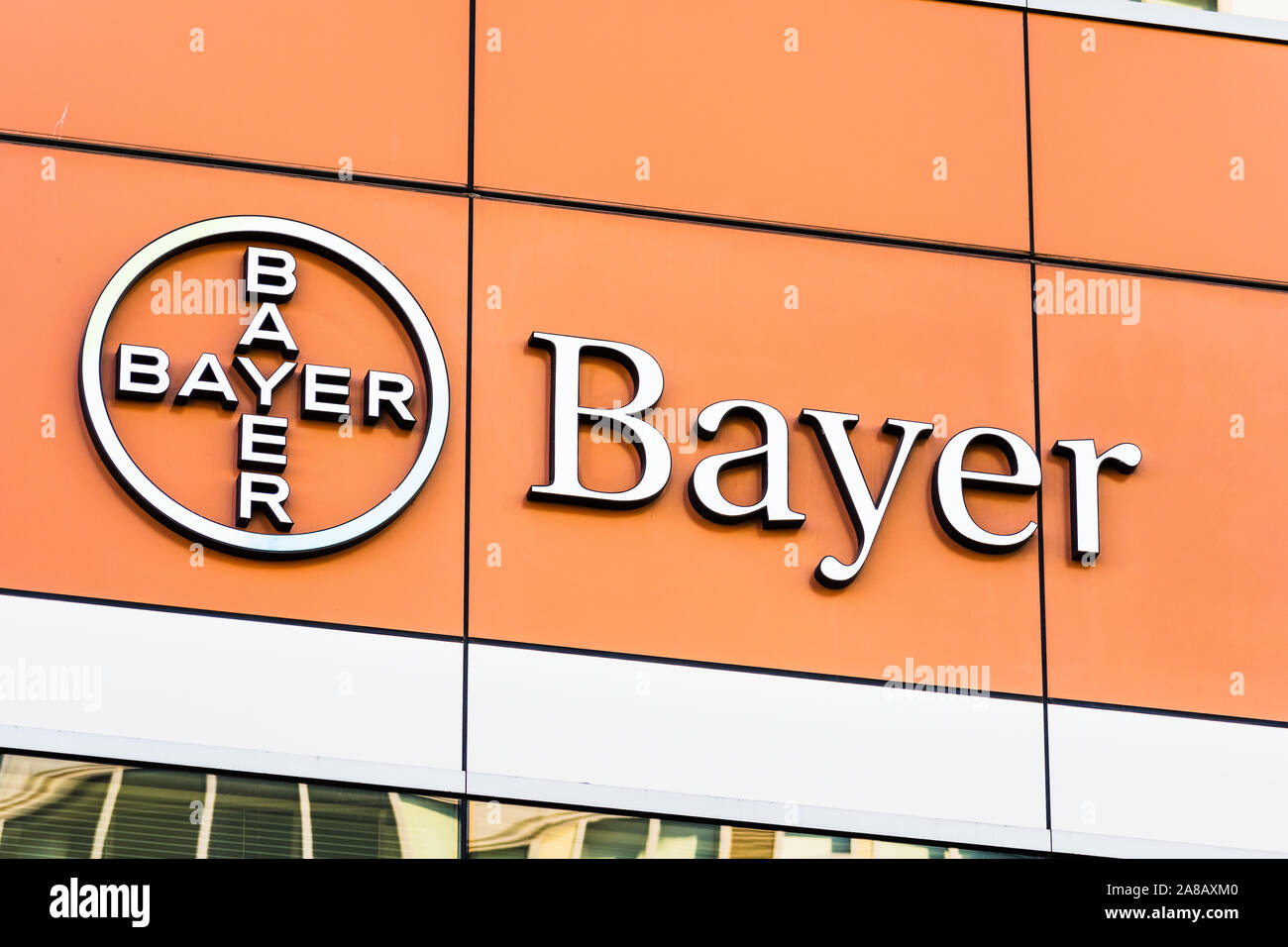 Nov 2, 2019 San Francisco / CA / USA - Bayer offices located in Mission Bay District; Bayer AG is a German multinational pharmaceutical and life scien Stock Photo