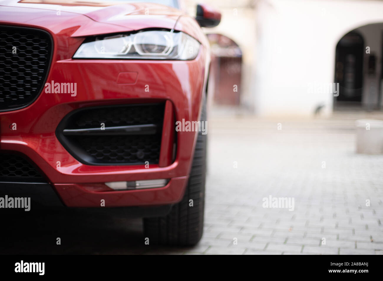 cars parked in the central streets of big cities Stock Photo