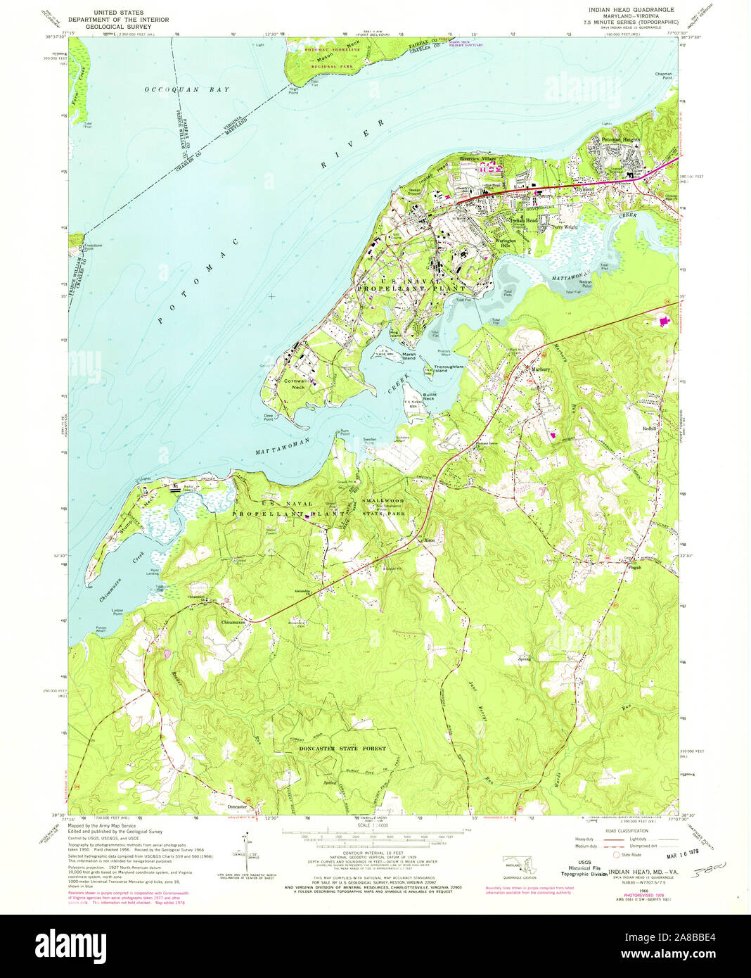 USGS TOPO Map Maryland MD Indian Head 256456 1966 24000 ...