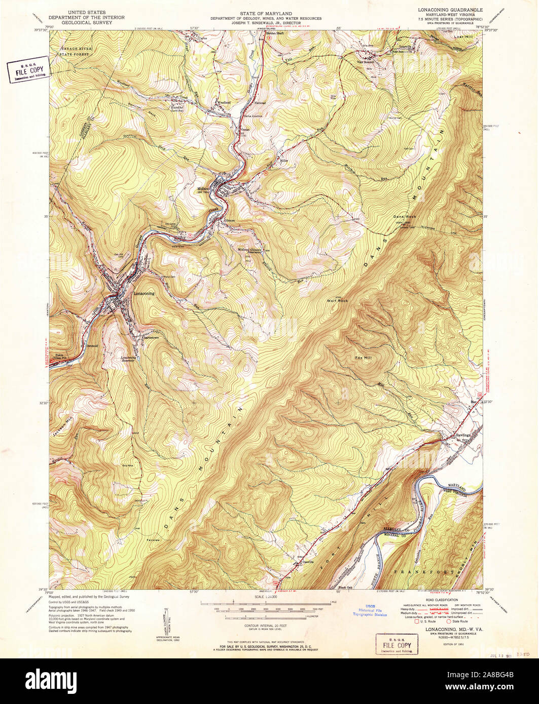 USGS TOPO Map Maryland MD Lonaconing 256546 1951 24000 Stock ...