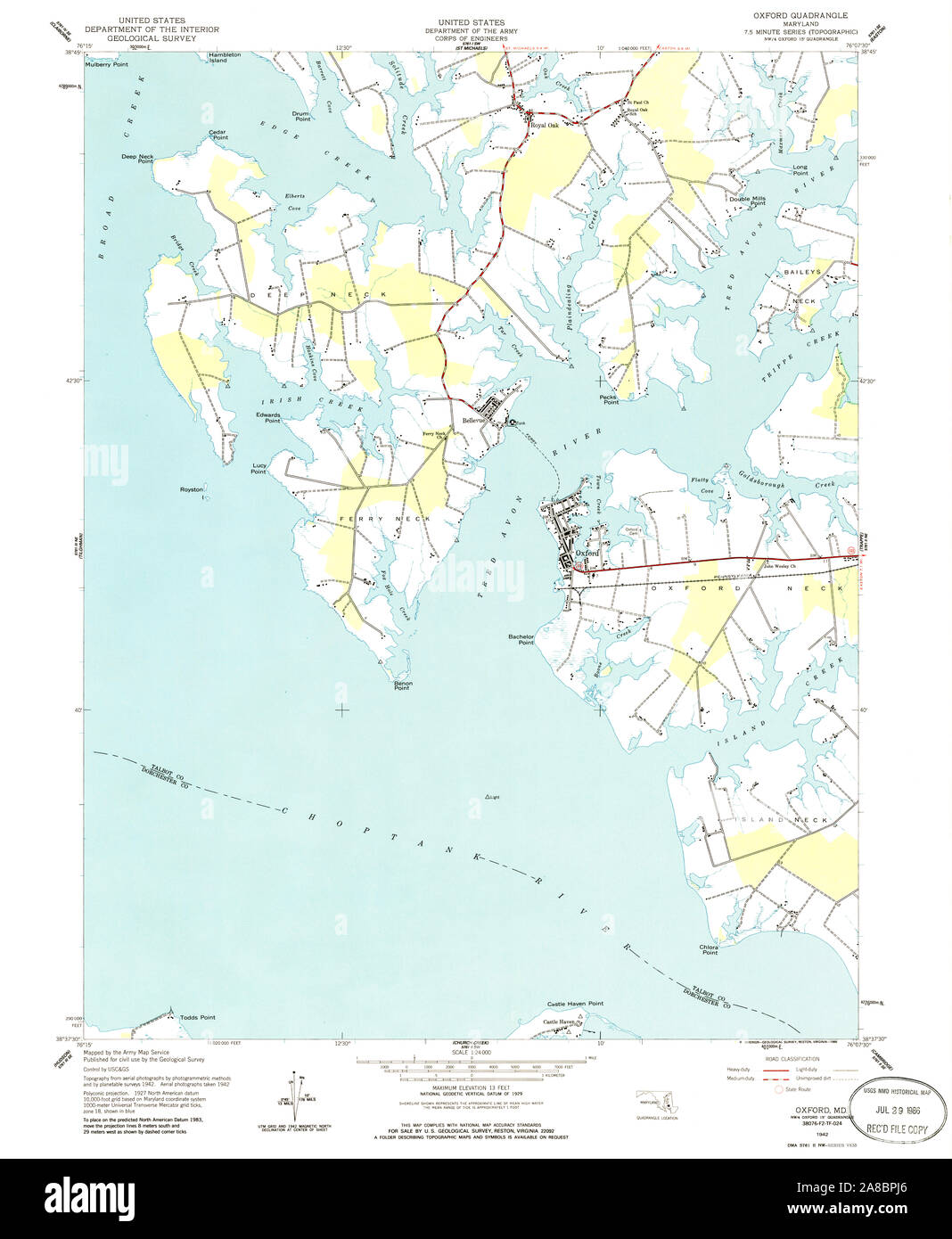 USGS TOPO Map Maryland MD Oxford 256687 1942 24000 Stock ...