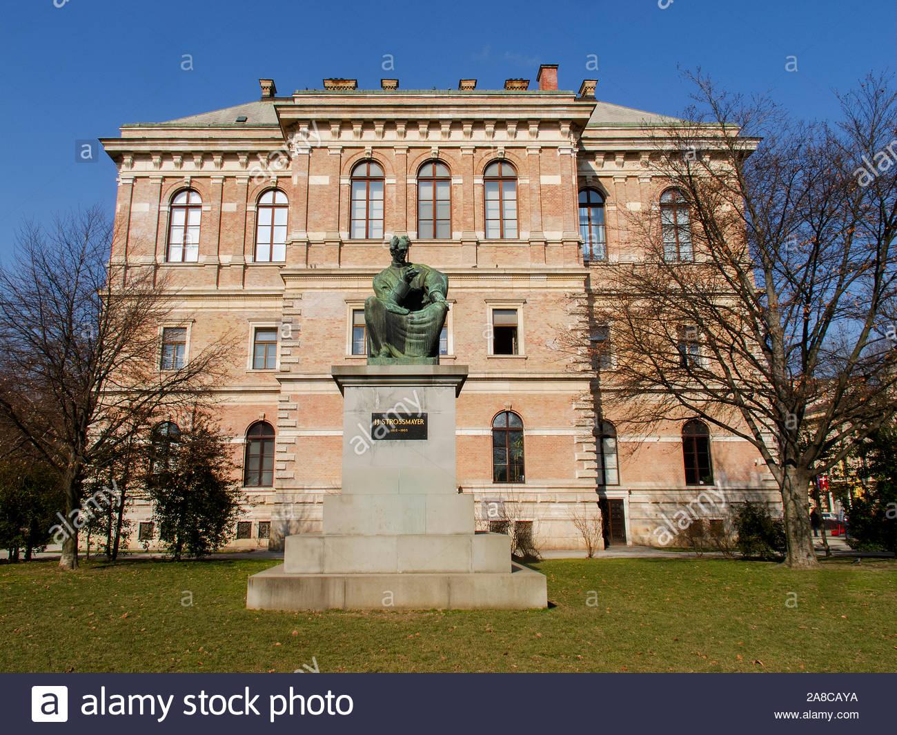 ZAGREB, CROATIA - FEBRUARY 2015 Statue of Josip Juraj Strossmayer in front of the Croatian Academy of Science and Arts 8045 Stock Photo