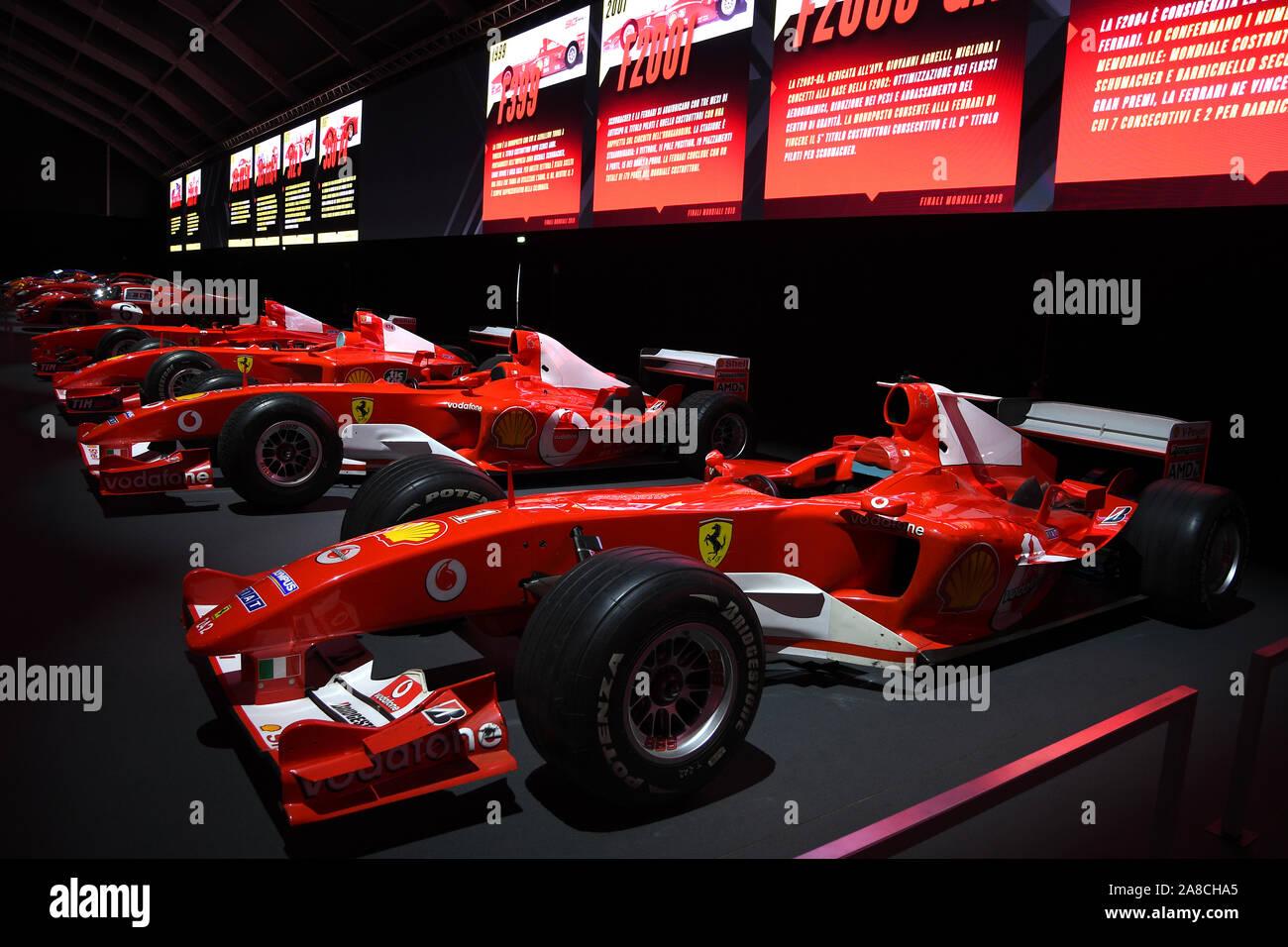 MUGELLO, IT, 24 October 2019: Detail of Modern Era Ferrari F1 ex Michael Schumacher on display at Mugello Circuit in italy Stock Photo