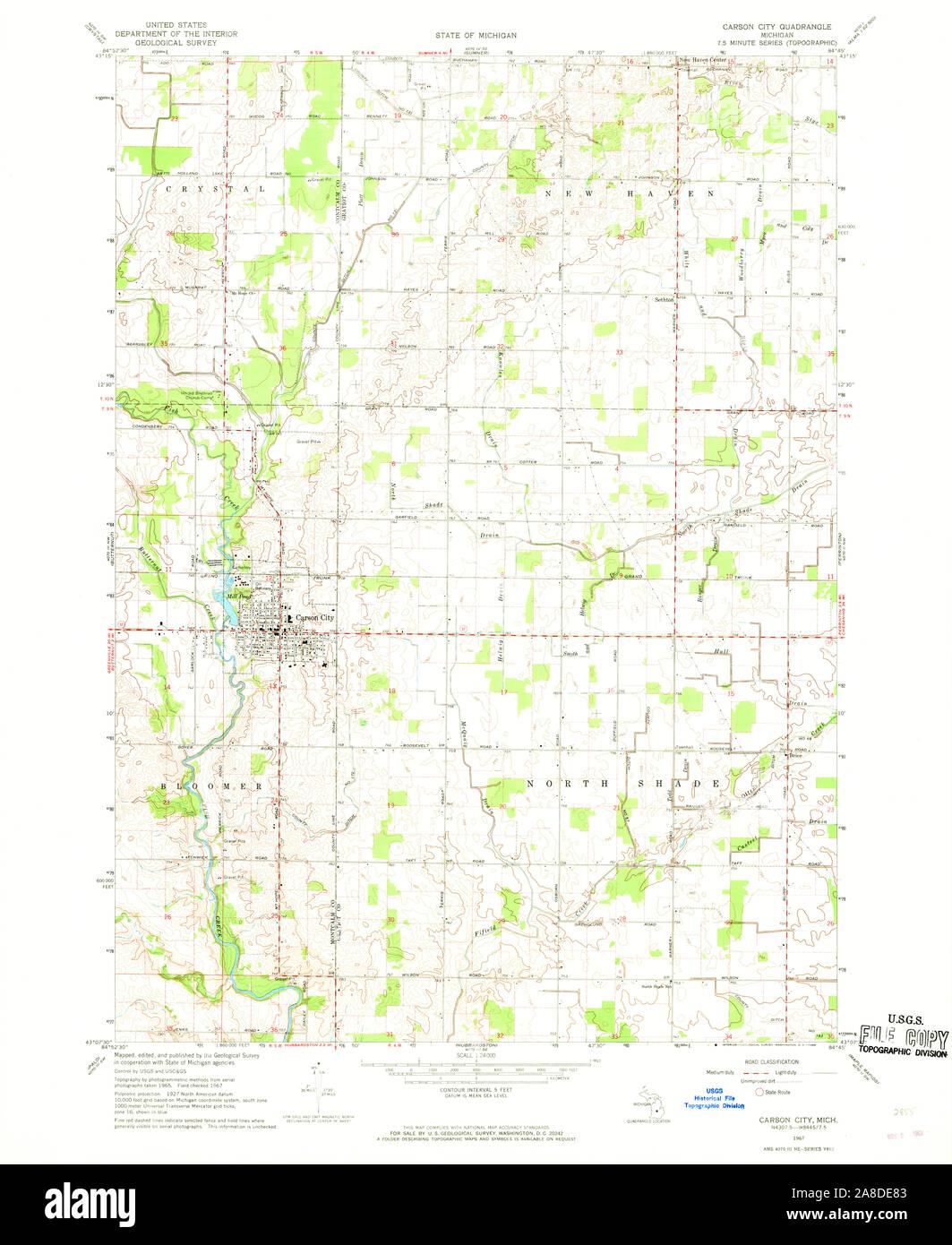 Usgs Topo Map Michigan Mi Carson City 275806 1967 24000 Stock