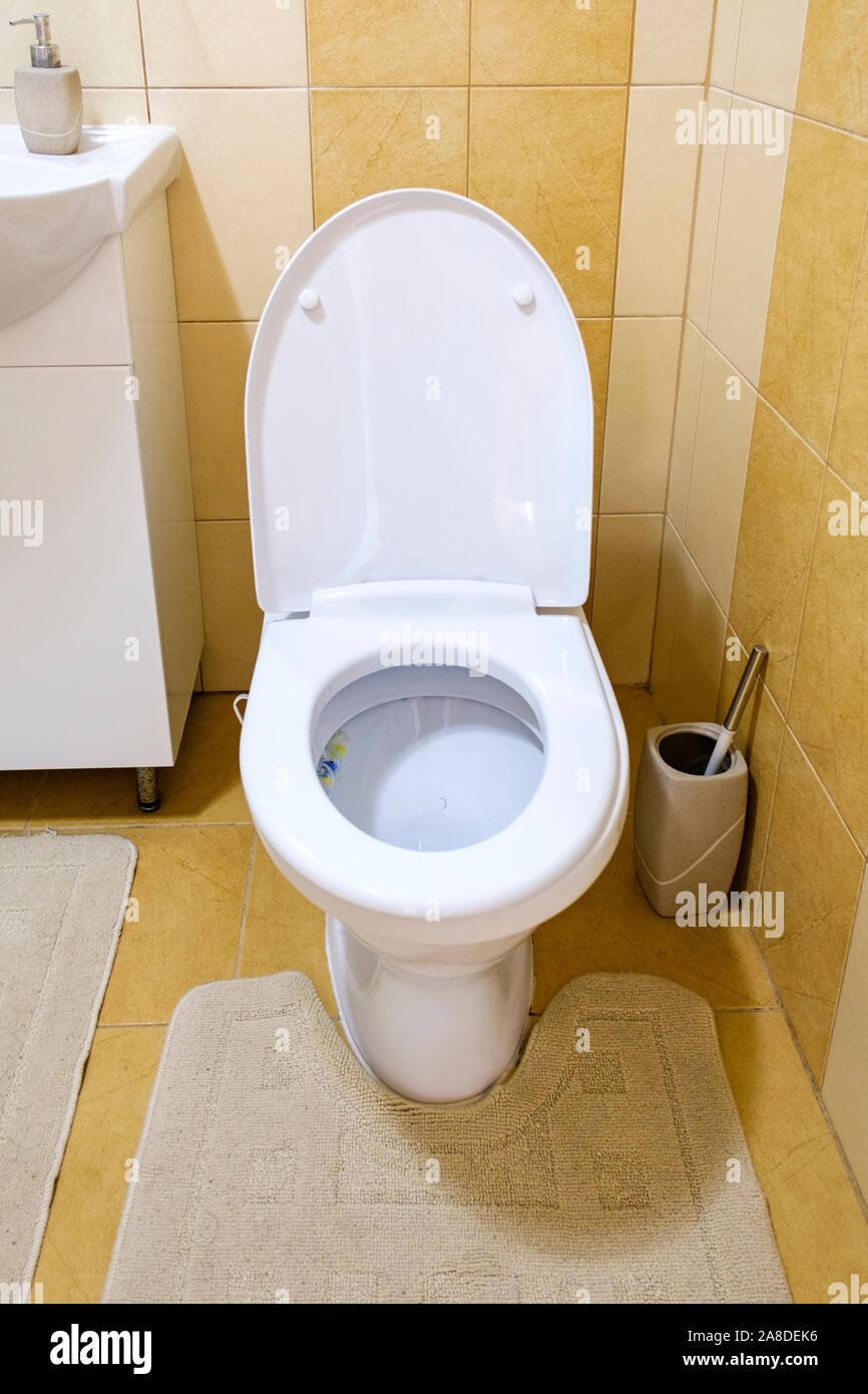 Open Toilet In A Neutral Coloured Tiled Bathroom With Wall