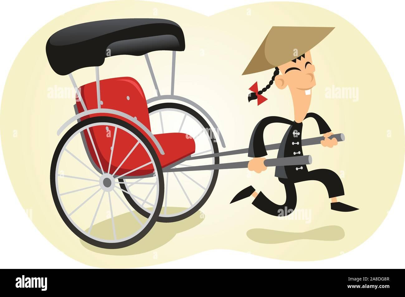 Pulled rickshaw illustration Stock Vector