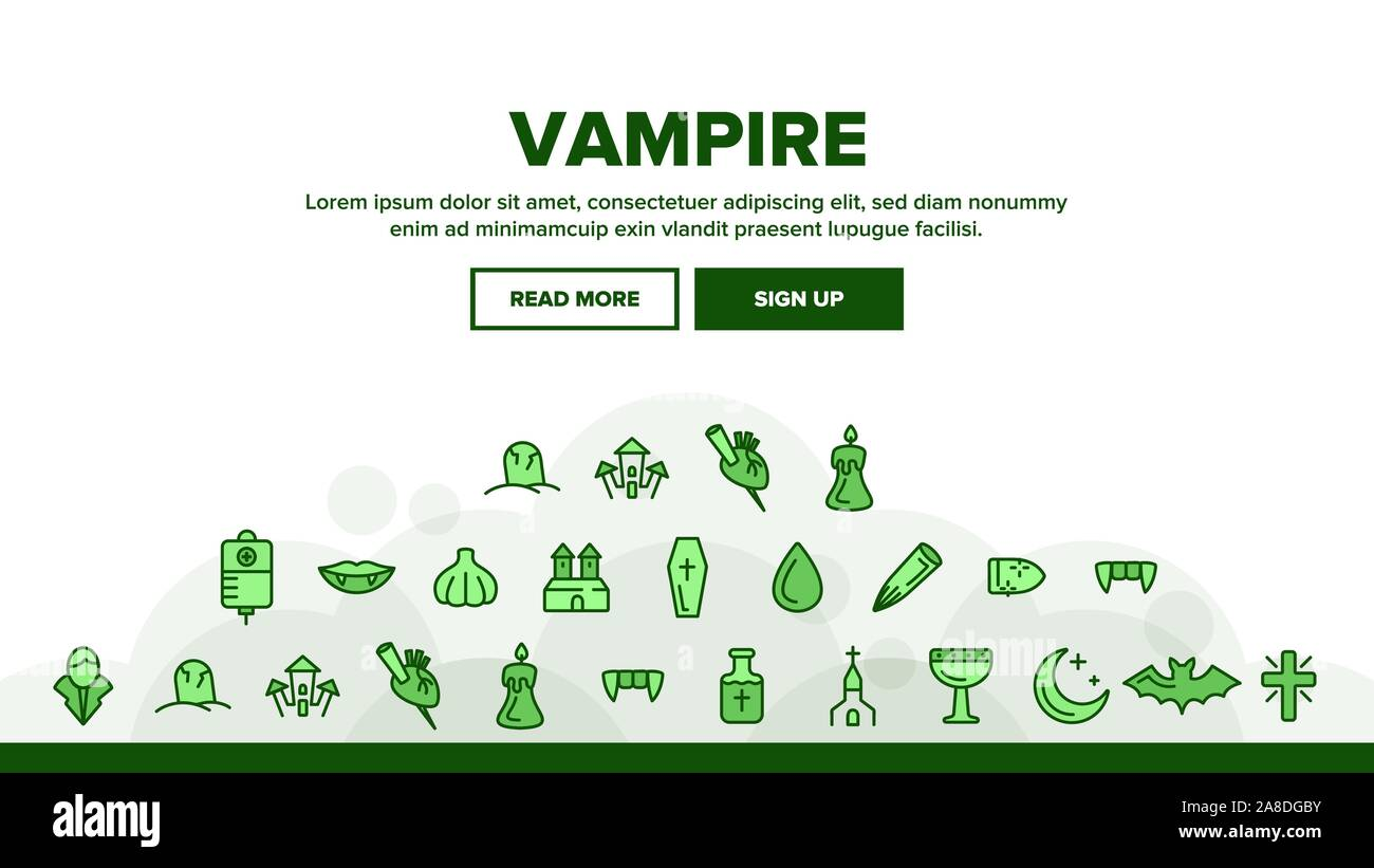Protection From Vampire Vector Linear Icons Set Stock Vector