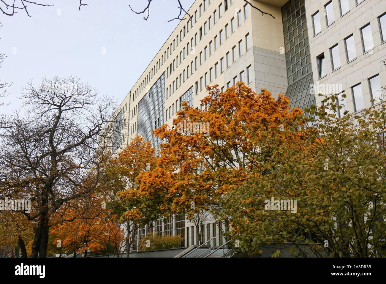BERLIN - NOVEMBER 8, 2018: Large Deutsche Rentenversicherung / Pension Insurance Building in Kreuzberg in fall with autumn colors Stock Photo
