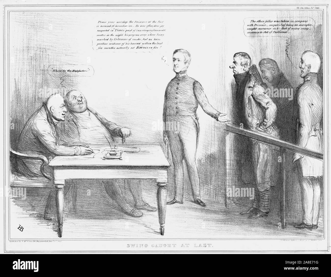 'Swing Caught at Last', 1835. Former Lord Chancellor Henry Brougham stands in the dock, as Sir Robert Peel explains his crime of 'incendiarism' to 'judge' King William IV. On the right is the Duke of Wellington. Satirical cartoon on British politics by 'H.B.' (John Doyle). [Thomas McLean, London, 1835] Stock Photo