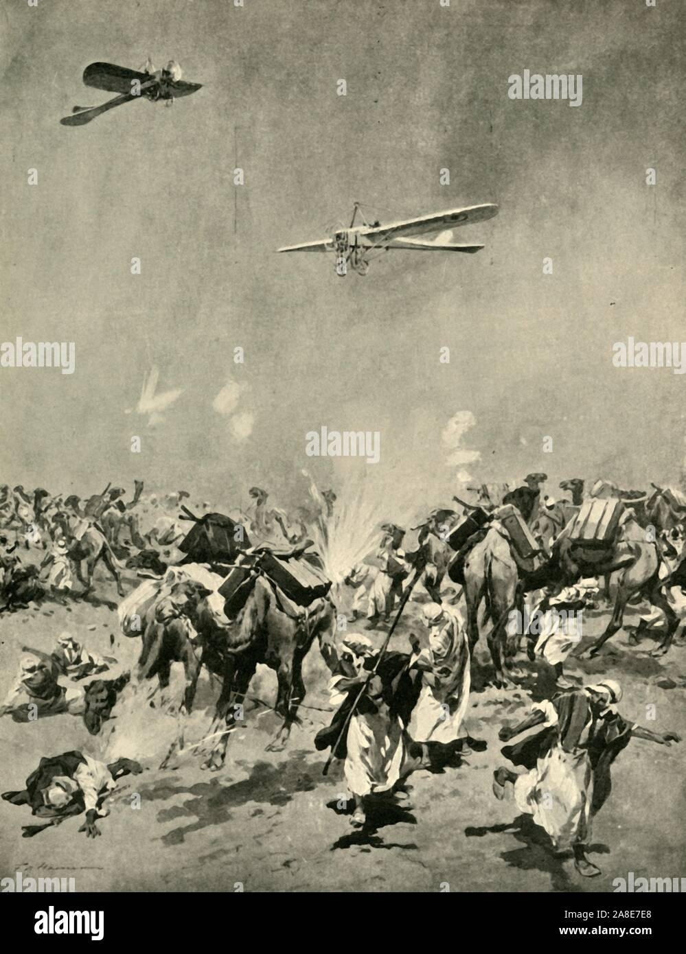 "'Ships of the Air versus Ships of the Desert', First World War, (c1920). 'British aeroplanes bombing a Senussi camel convoy laden with ammunition...The sketch by a British officer from which the drawing was made was accompanied by the following note: ""In the region of Baharia Wells, south of Dabaa, one of the four great wells in the desert between Alexandria and Matruh, two of our aeroplanes accomplished a very hazardous feat in dropping bombs on a Senussi village and demolishing a camel convoy. Some camels were laden with high-explosives, and violent explosions occurred, causing great da Stock Photo"