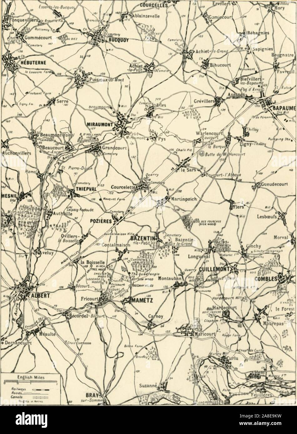 """'Large Scale Map of the Area of Victory in the """"Great Push"""" of 1916', 1917. The Battle of the Somme began on 1st July 1916, with General Douglas Haig's offensive known as the Great Push, the victories great, the horrors were greater. From """"The War Illustrated Album De Luxe - Volume VII. The Autumn Campaign of 1916"""", edited by J. A. Hammerton. [The Amalgamated Press, Limited, London, 1917] Stock Photo"""