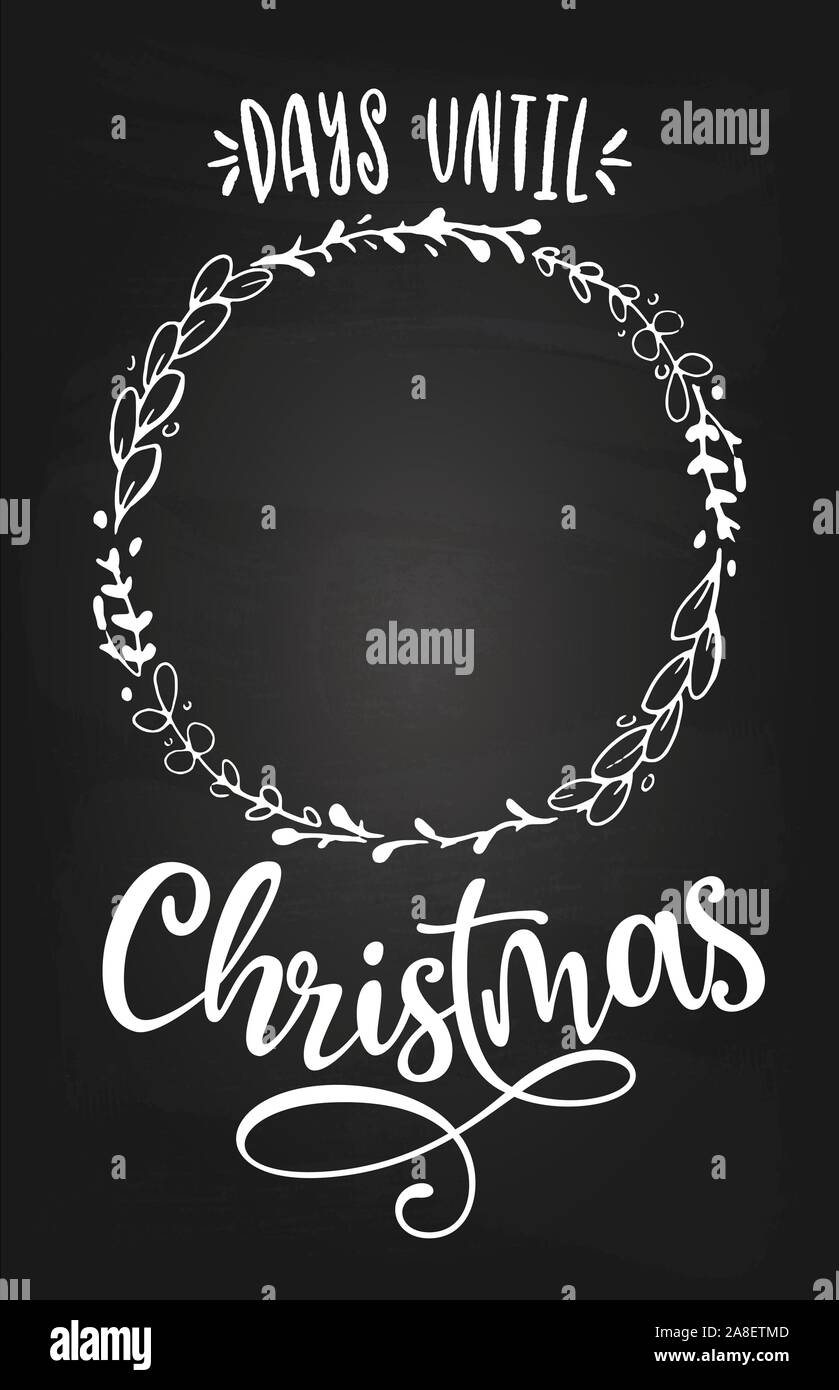 How Many Days Untile Christmas 2020? Days until Christmas. Merry Xmas Advent countdown   Calligraphy