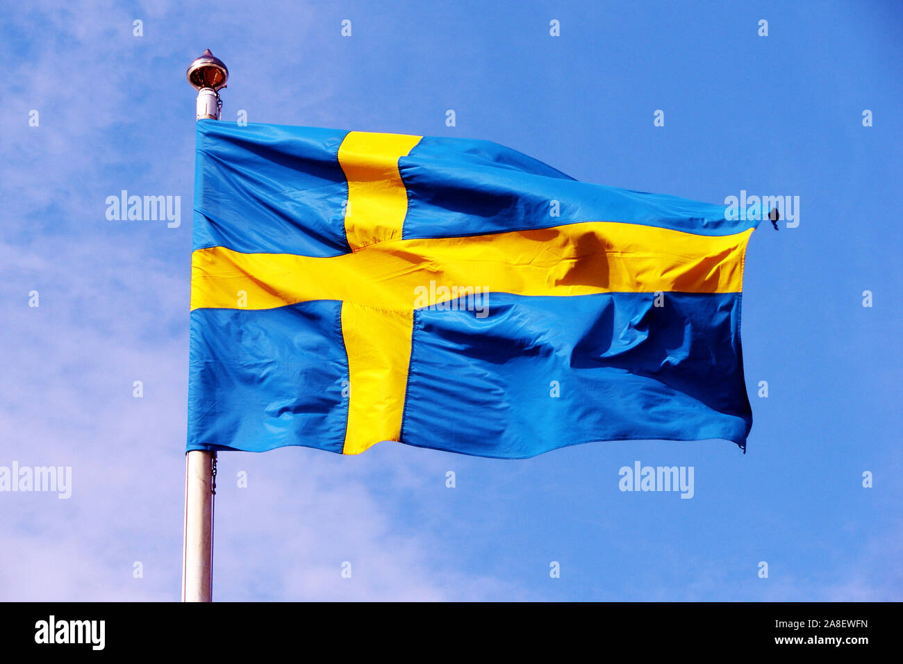 ,Schweden Stockholm Fahne, Landesfahne, Fahnenmast, Flagge, Flaggenmast, Stock Photo