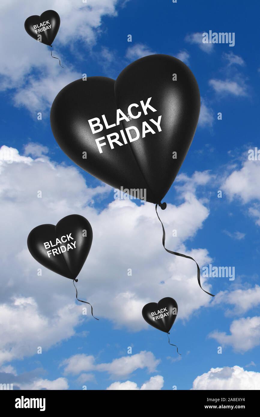 Luftballon, Herzluftballon, Schwarze Herzluftballons, Black Friday, Explosive Preise, Symbolbilder, Rabatte, Sonderverkauf, Wolkenhimmel, Stock Photo