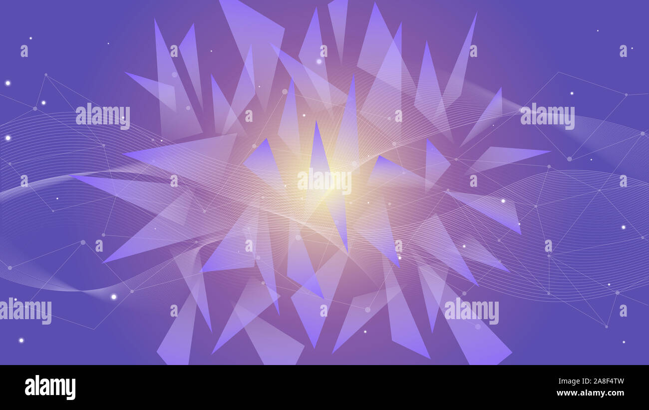 Abstract polygonal space low poly dark background with connecting dots, lines and geometirc shapes. Futuristic connection structure for science and business background. Stock Photo