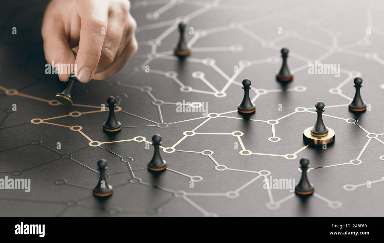 Hand moving pawn on a conceptual maze. Shortcut to success or career guidance concept. Composite image between a hand photography and a 3D background. Stock Photo
