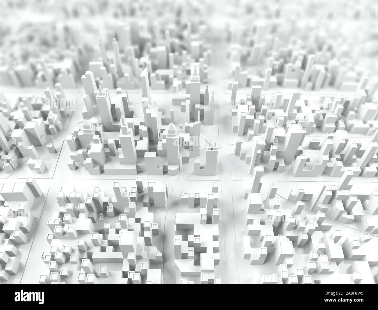Aerial view of city, illustration Stock Photo