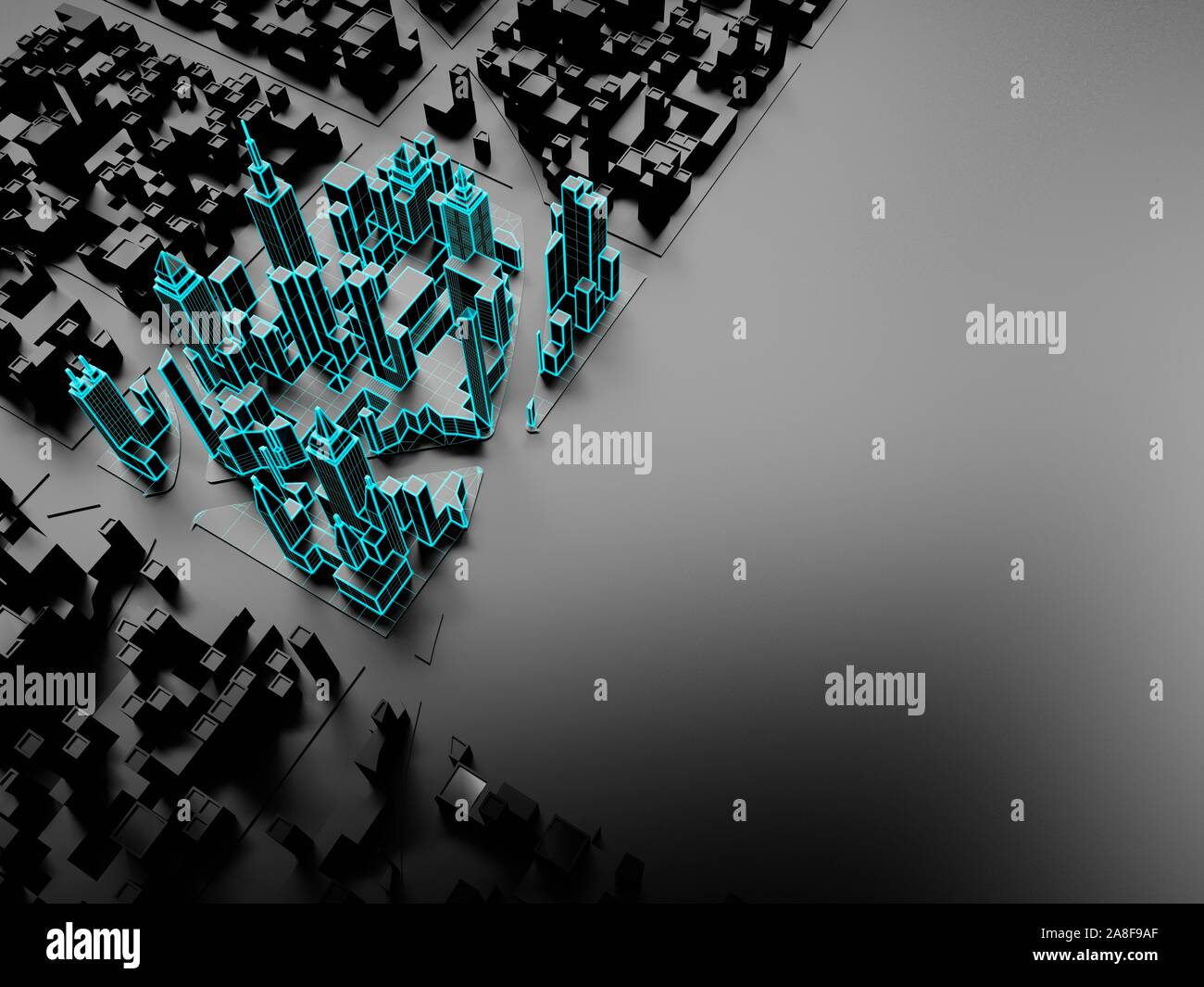 Digital city with smart technology, conceptual 3D illustration. Stock Photo
