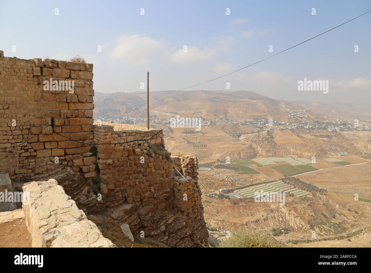 Valley below Karak Castle, Al Karak, Karak Governorate, Jordan, Middle East Stock Photo