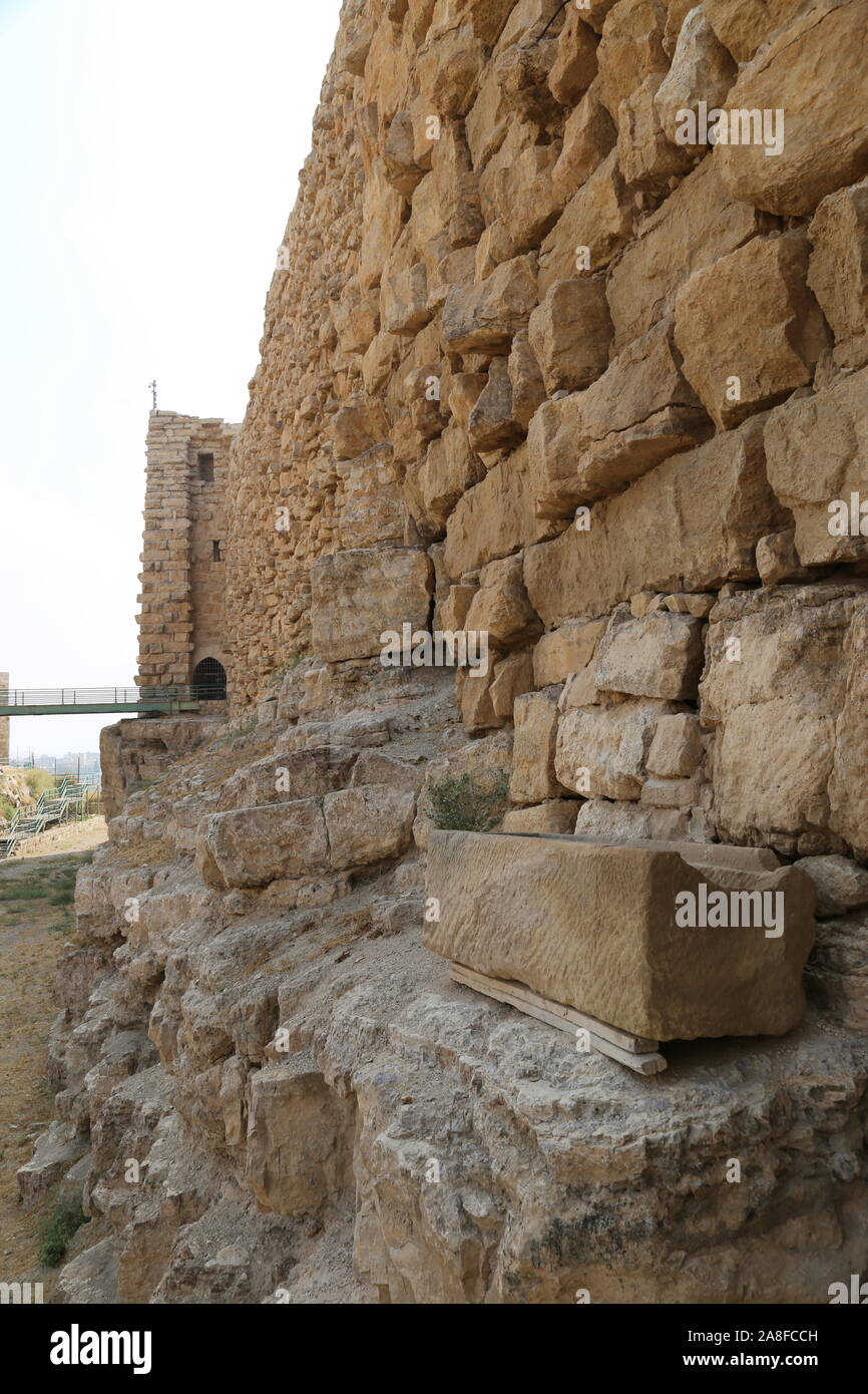 Dry moat and North Wall, Karak Castle, Al Karak, Karak Governorate, Jordan, Middle East Stock Photo