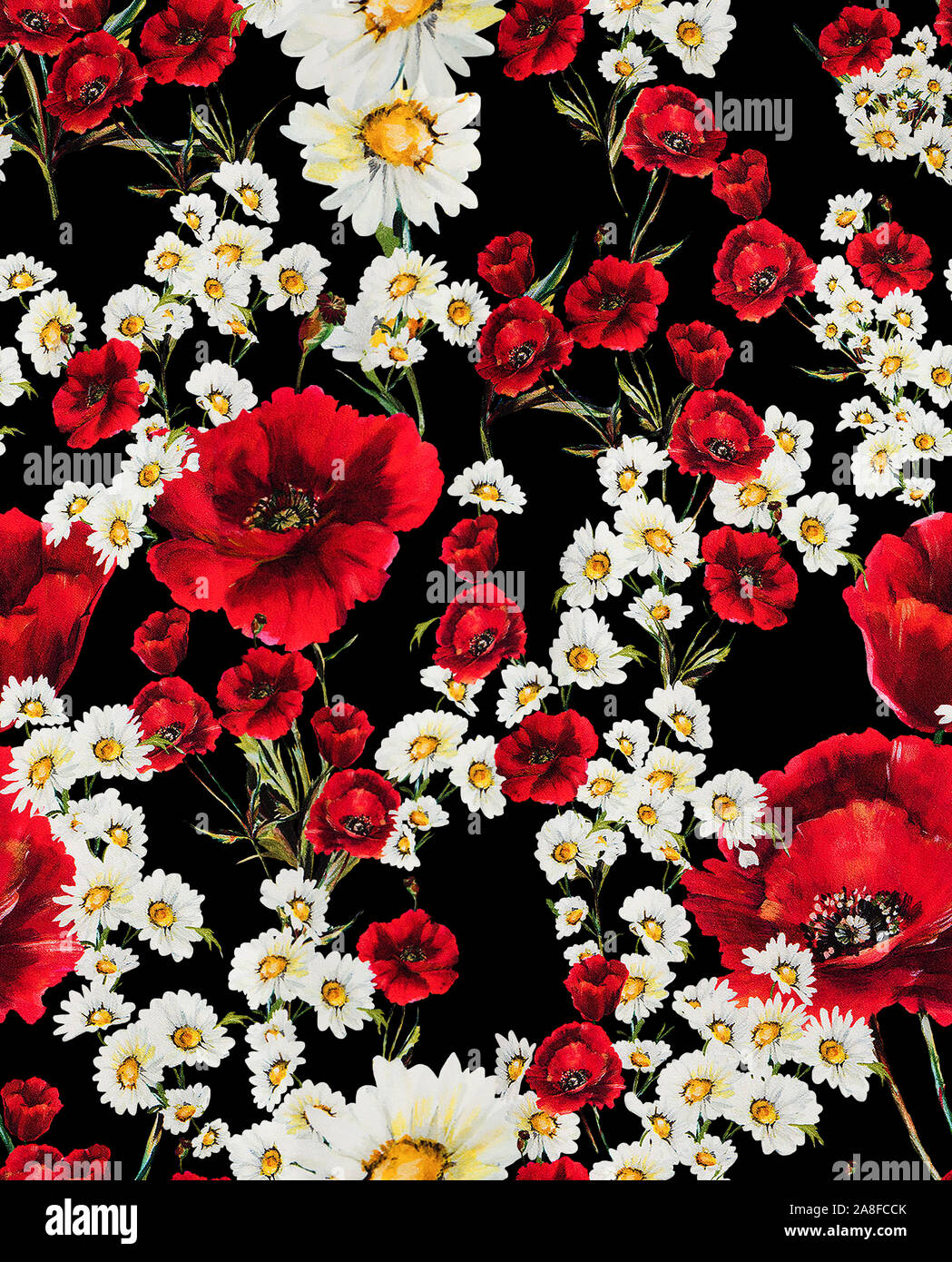 Seamless Floral Pattern With Red Flowers And White Daisy On Black
